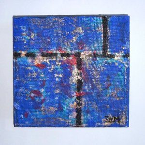 """""""City Scape in Blue"""" Mixed Media Wall Art"""